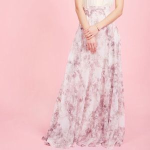NWOT Jenny Yoo Chiffon Floral Maxi Skirt